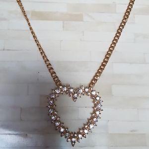 "Necklace / Rhinestones / Heart / 22"""